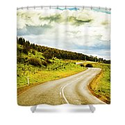 Empty Asphalt Road In Countryside Shower Curtain