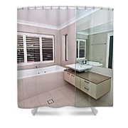 Empty Bathroom Shower Curtain