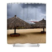 Empty Beach Due To Incoming Storm  Shower Curtain