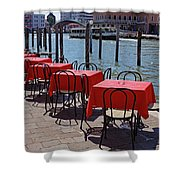 Empty Canal Side Tables Awaiting Hungry Customers In Venice, Italy  Shower Curtain