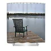 Empty Chair On Autumn Morning Shower Curtain