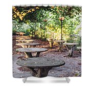 Empty Picnic Tables In The Early Fall With Fallen Leaves Shower Curtain