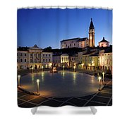 Empty Tartini Square In Piran Slovenia With Courthouse, City Hal Shower Curtain
