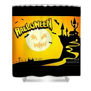 Enchanted Castle Over The Zombies Cemetery In Halloween Night Shower Curtain