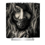 Enchanted Concept Black And White Shower Curtain