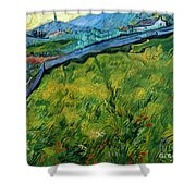 Enclosed Wheat Field With Rising Sun, By Vincent Van Gogh, 1889, Shower Curtain