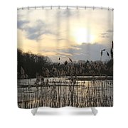 End Of Day At The Lake Shower Curtain
