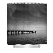 End Of The Pier Landscape Photograph Shower Curtain