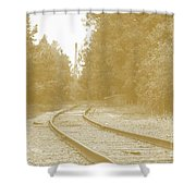 End Of The Rail-sepia Shower Curtain