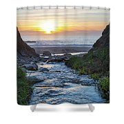 End Of The Road - Creek Runs Into Pacific Ocean At Big Sur Shower Curtain