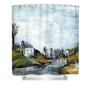 End Of Winter - Acrylic Landscape Painting On Cotton Canvas Shower Curtain