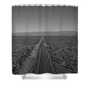 Endless Road Aerial Bw Shower Curtain