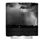 Energy Black And White Shower Curtain