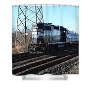 Engine 5664 Passing Bye Shower Curtain