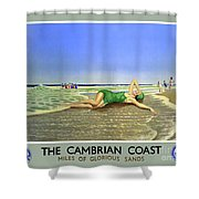England Cambrian Coast Vintage Travel Poster Shower Curtain