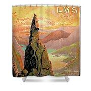 England Lake District Vintage Travel Poster Shower Curtain