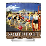 England Southport Restored Vintage Travel Poster Shower Curtain