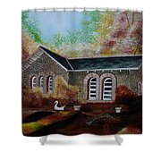 English Cottage In The Autumn Shower Curtain