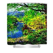 English Country Lake 1d Shower Curtain