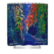 English Country Lane At Night 1d Shower Curtain