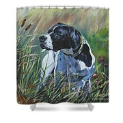 English Pointer In The Field Shower Curtain