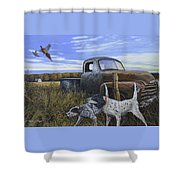 English Setters With Old Truck Shower Curtain