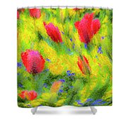English Summer Flowers Pastel Shower Curtain