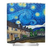English Village In Van Gogh Style Shower Curtain