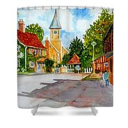 English Village Street Shower Curtain