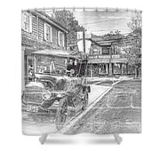 Englishtown New Jersey Classic Car Shower Curtain