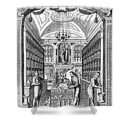 Engraving Of Pharmacy, Geiger, 1651 Shower Curtain