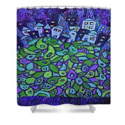 Enhanced Blue City On A Hill Shower Curtain