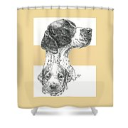 English Pointer And Pup Shower Curtain