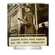 Enjoy Your War Work - London Underground, London Metro - Retro Travel Poster - Vintage Poster Shower Curtain