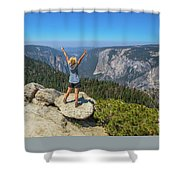 Enjoying At Yosemite Summit Shower Curtain