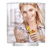 Enjoying Healthy Nutrition Shower Curtain