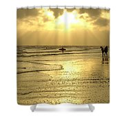 Enjoying The Beach At Sunset Shower Curtain
