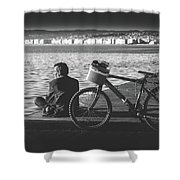 Enjoying The Sun In Greece Shower Curtain