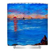Enjoying The Sunset Differently Shower Curtain