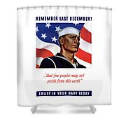 Enlist In Your Navy Today - Ww2 Shower Curtain