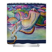 Entangled Figure With Rocks Shower Curtain
