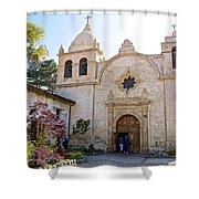 Entering The Church Sanctuary At Carmel Mission-california  Shower Curtain