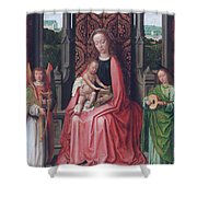 Enthroned Virgin And Child, With Angels Shower Curtain