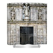 Entrance Facade In Landmark Cathedral Of Santiago De Compostela  Shower Curtain