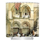 Entrance To Church Of The Holy Sepulchre Card Shower Curtain
