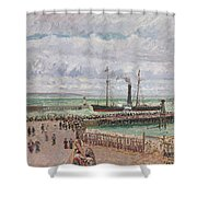 Entrance To The Port Of Le Havre And The West Breakwaters Shower Curtain