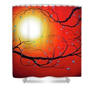 Entwining Branches Of Turquoise Leaves Shower Curtain