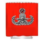 Eod Master Badge Emblem On Red Shower Curtain