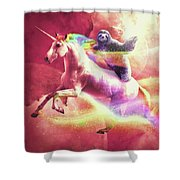 Epic Space Sloth Riding On Unicorn Shower Curtain