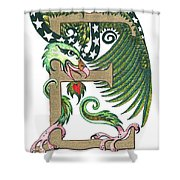 Epsilon Eagle In Green And Gold Shower Curtain